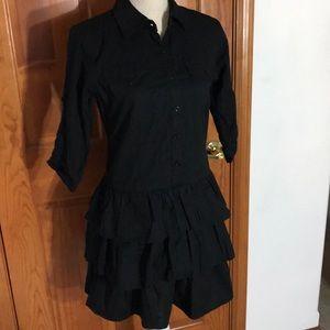 BeBop Dresses - Be Bop Black Shirtdress with Ruffles SZ M